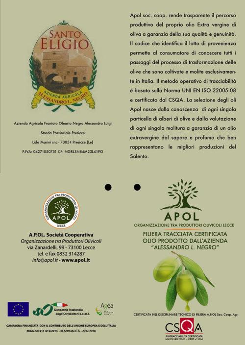 certificazione filiera tracciata olio di oliva